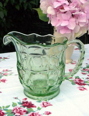 1930's Green Glass Jug / Pitcher close