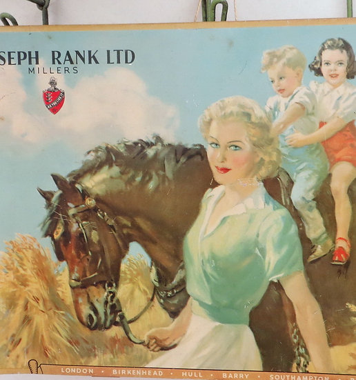 1940's Joseph Rank Advertising Sign Horse Lady children vintage