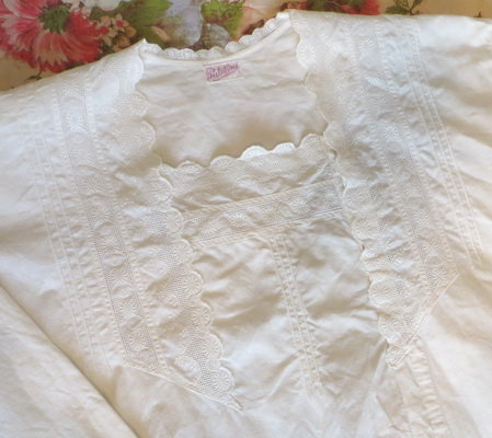 Edwardian Whitework Nightgown detail
