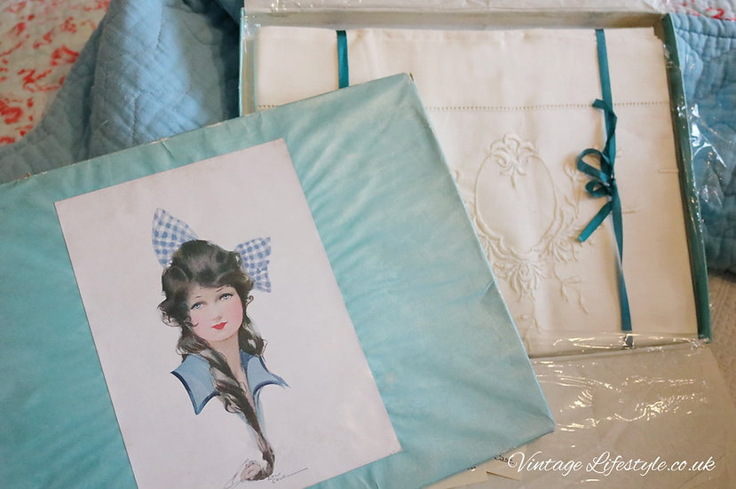 Set of embroidered pillowcases in original box Edwardian lady