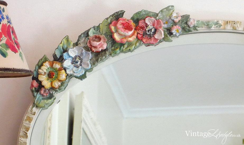 Ivory framed Vintage Barbola Mirror close up