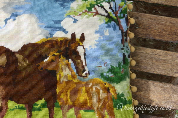 Horses Mare and Foal vintage Needlepoint Cushion