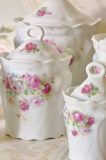 Pink Roses French Kitchen Jars close up