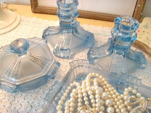 1930's Powder Blue Dressing Table Set