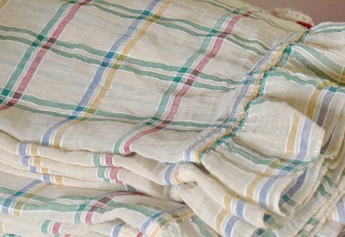 French Check Ruffled Muslin Fabric vintage