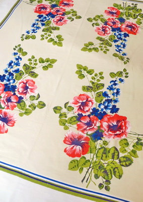 Roses and Delphiniums Tablecloth close up