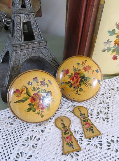French Hand-Painted Door Knobs