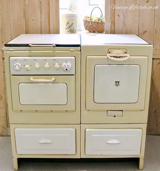 Vintage Antique 1947 Moffat Cooker Oven Pale yellow cream display prop