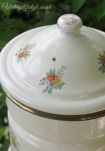 French Enamel Posies Coffee Pot Biggin