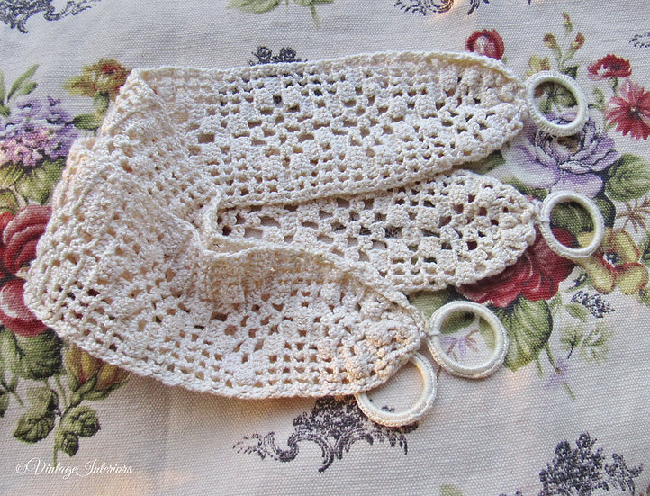 Antique Hand Crocheted Curtain Tie Backs