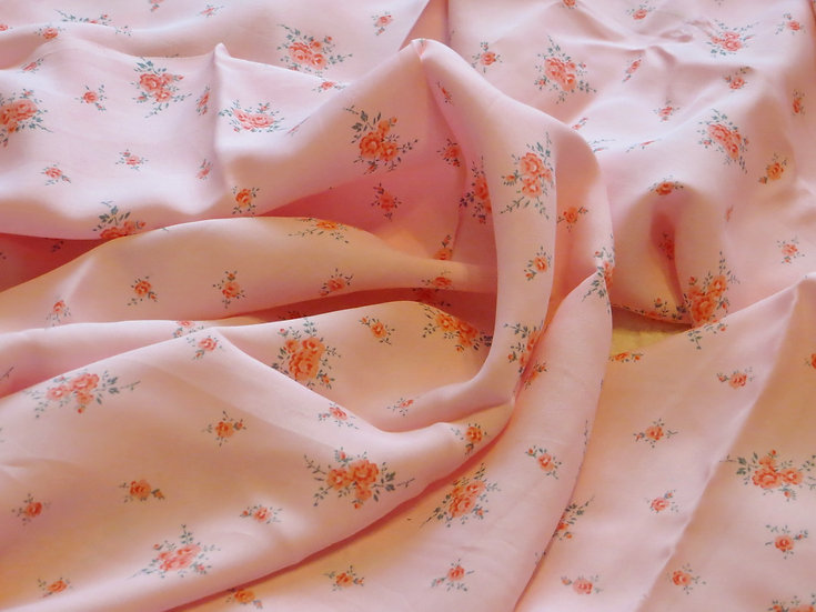 Vintage French Pink Rosebud Fabric