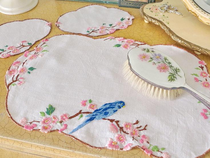 Bird and Blossom Linen Doilies Budgie