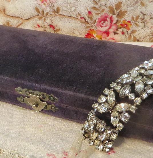 Velvet Covered Jewelry Gift Box Vintage
