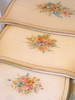 """""""Floral Sprays"""" Painted Nesting Tables"""
