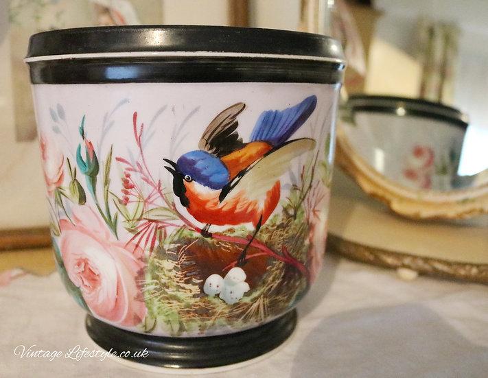 Antique French cache pot planter porcelain