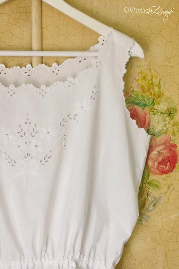 Edwardian Victorian Whitework Cotton Camisole sleeve