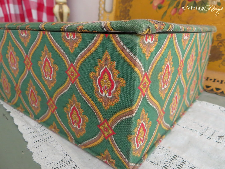 French fabric covered box vintage