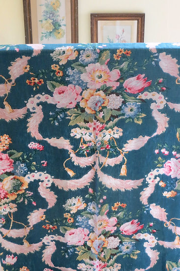19th C Floral French Linen Curtains