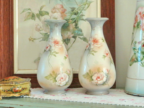 Edwardian Crownford Blush Rose Vases