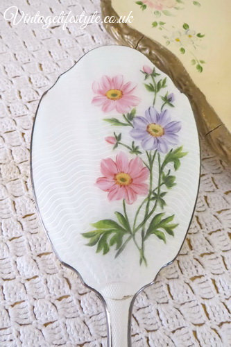 Vintage Pastel Floral Guilloche Hair Brush Hand Painted