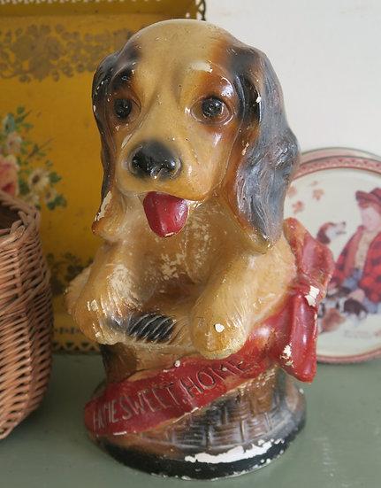 chalkware fair carnival prize dog basket