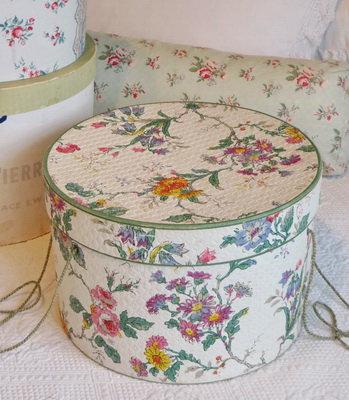 Vintage Wallpaper Covered Hat Box