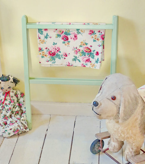 Painted vintage Spring Green child's airer / dryer