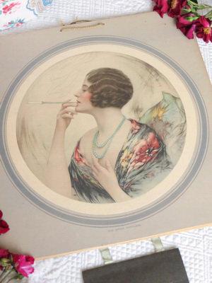 1938 Calendar 'The Green Necklace' woman smoking