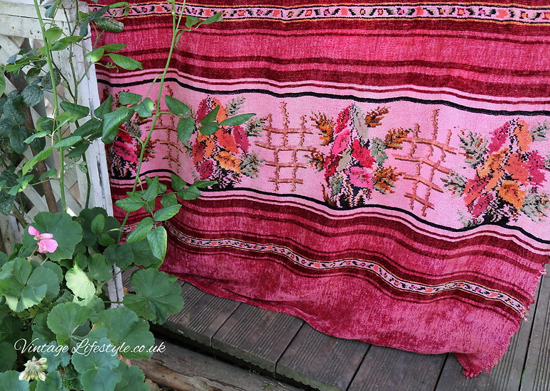 Crushed Strawberry Chenille Curtain