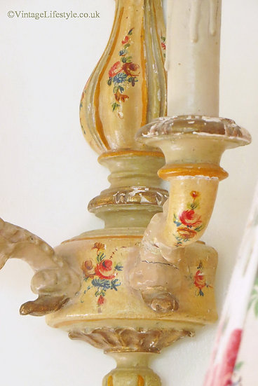 Pair of Painted Floral Wall Sconces Vintage