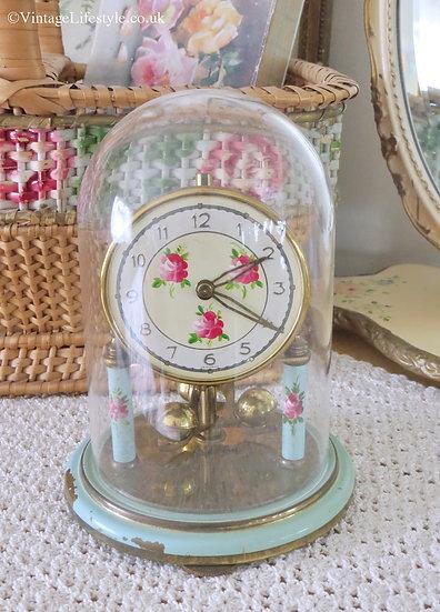 Aqua Hand Painted Vintage Anniversary Clock