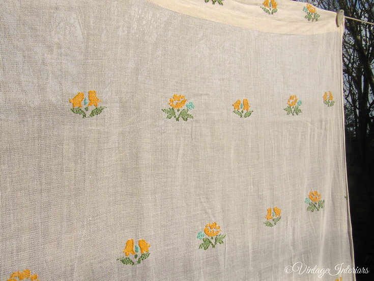 Flocked cotton vintage curtain close up
