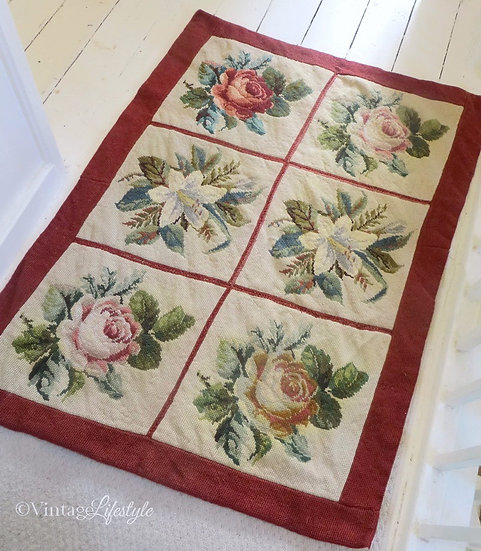 Roses & Lillies Needlepoint Rug