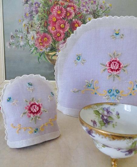 Embroidered Organza Tea Cosy Set