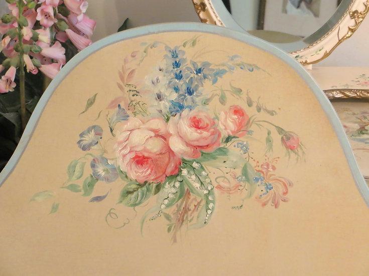 1930's single headboard painted roses vintage