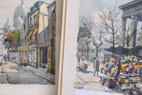 3 Vintage French scene watercolour prints Close up