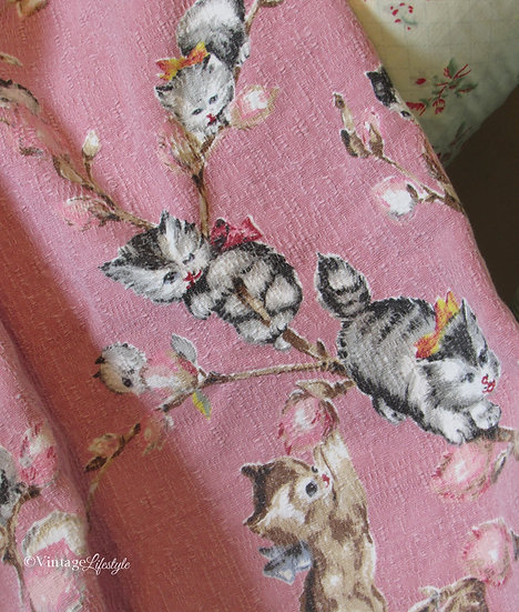 Vintage kitten fabric curtains 1950's 1960's pussy willow