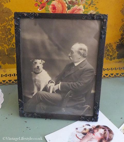 Framed Edwardian Photo Gentleman and Dog