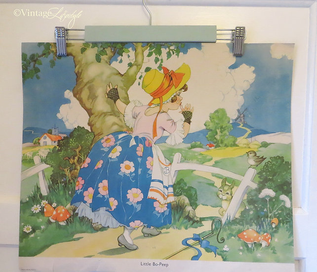 1950's Nursery Rhyme Print Little Bo-Peep