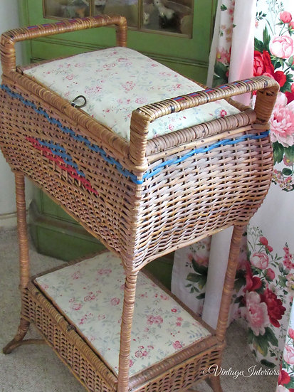 19th c french wicker sewing basket