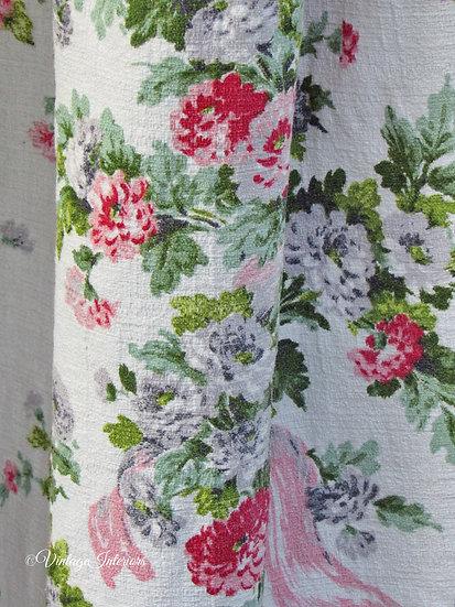 Close up Zinnia Floral vintage Barkcloth cotton curtains fabric