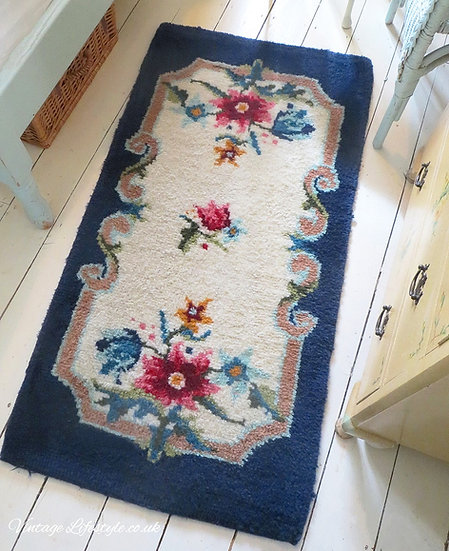 Blue Bordered Wool Hooked Rug