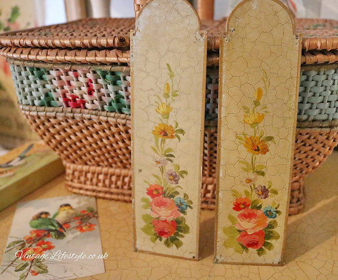 Pair of enamel Painted Door plates roses floral