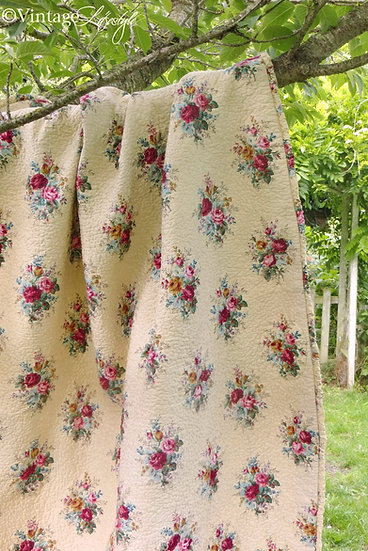 Sanderson Roses quilted Cover Quilt Fabric vintage