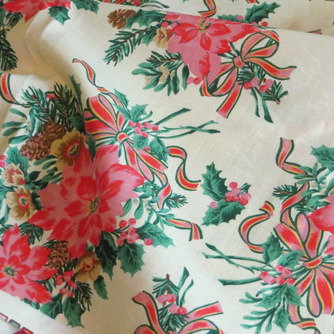 Pink Poinsettia Fabric Vintage