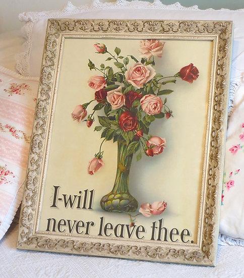 Superb Antique Framed Bible Verse & Roses Print