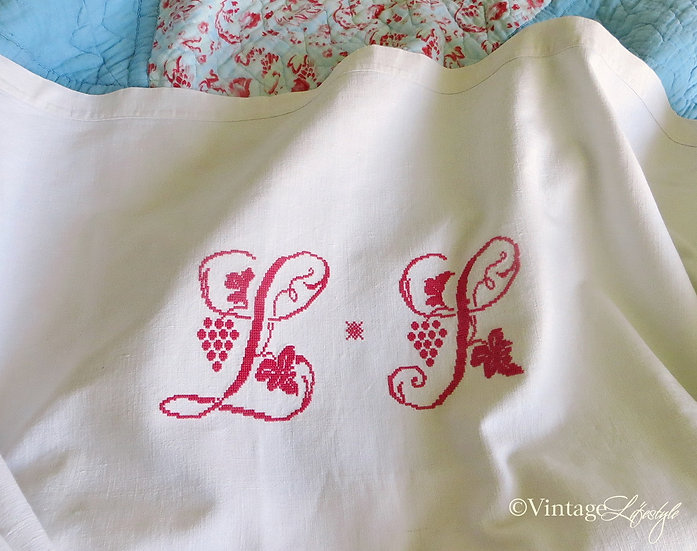 French Monogrammed Linen sheet Red stitching