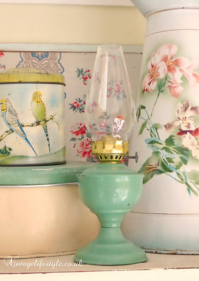 Sea Green Enamel Oil Lamp