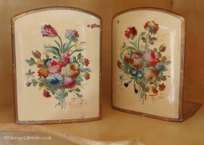 Pair of Vintage Italian Painted Floral Book Ends