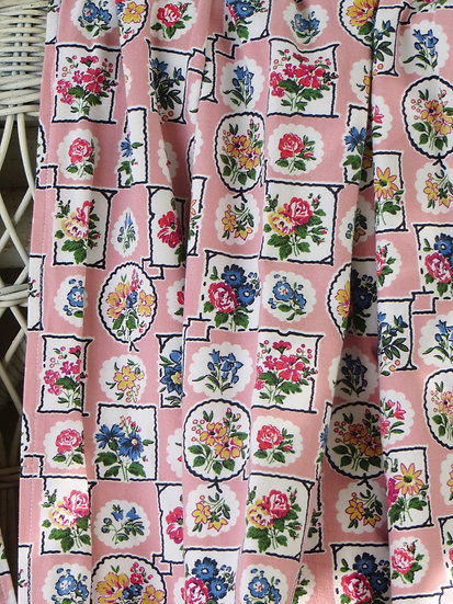 1950's Pink Floral Curtains Vintage